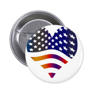 flag usa heart love american honor troops stripes pinback button