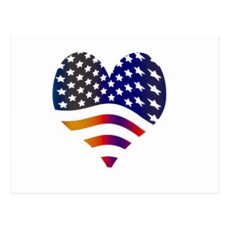 flag usa heart love american honor troops stripes postcard