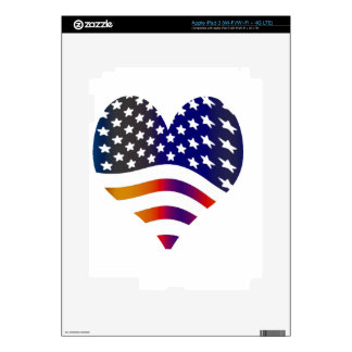 flag usa heart love american honor troops stripes iPad 3 decals