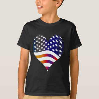 flag usa heart love american honor troops stripes T-Shirt