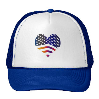 flag usa heart love american honor troops stripes trucker hat