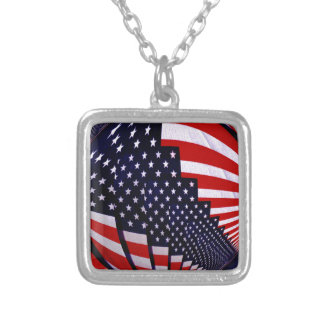 Flag-USA -Spread the Love_ Silver Plated Necklace