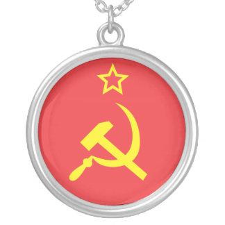 Flag USSR Round Pendant Necklace