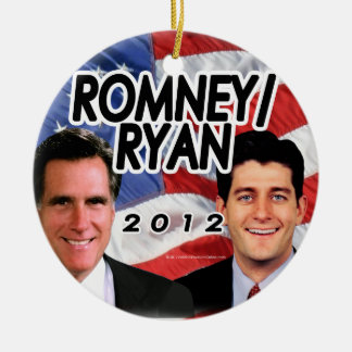 Flag w/Photo Romney/Ryan 2012 Double-Sided Ceramic Round Christmas Ornament
