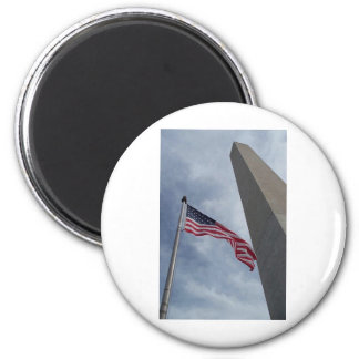 Flag Washington Monument 2 Inch Round Magnet