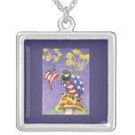 Flag waving Fourth of July Ladybug Custom Necklace