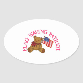 Flag Waving Patriot Oval Sticker