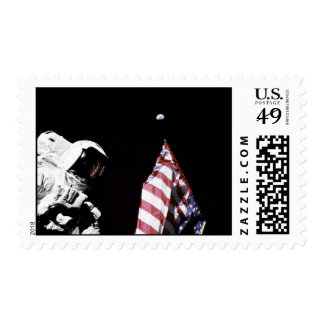 flag wEarth in background Postage Stamp