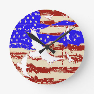 FLAG & WHITE EAGLES  JULY 4TH ART ROUND CLOCK