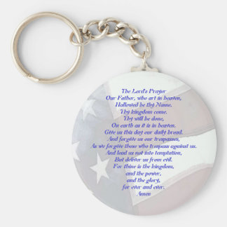 Flag with Lord's Prayer Basic Round Button Keychain