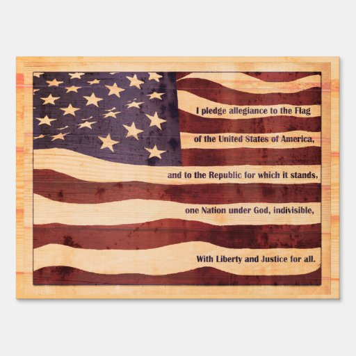 Flag with Pledge of Allegiance LOOKS like wood Signs