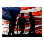 Flag with Soldier Silhouette Postcard