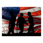 Flag with Soldier Silhouette Poster