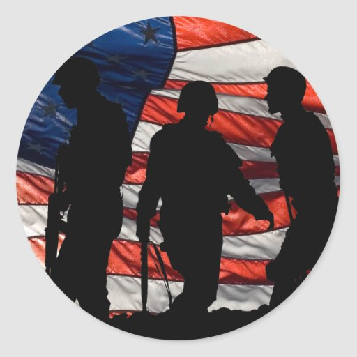 Flag with Soldier Silhouette Stickers