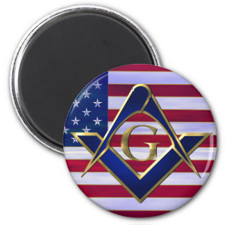 Flag with Square and Compasses 2 Inch Round Magnet