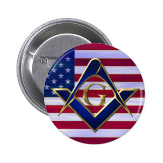 Flag with Square and Compasses Pinback Buttons