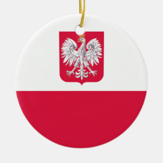 Flaga Polski - Polish Flag with Coat of Arms Ceramic Ornament