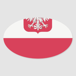 Flaga Polski z godłem - Flag of Poland Oval Sticker