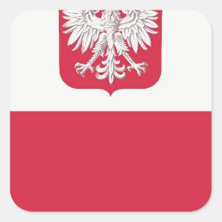 Flaga Polski z godłem - Flag of Poland Square Sticker
