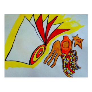 flagella amoeba art paint design original birthday postcard