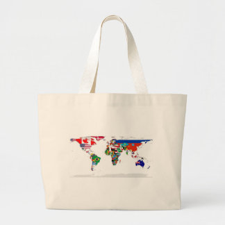 Flagged World - Map of Flags of the World Large Tote Bag