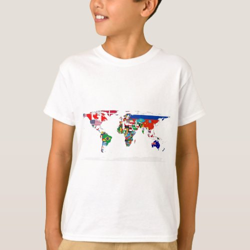 Flagged World _ Map of Flags of the World T_Shirt