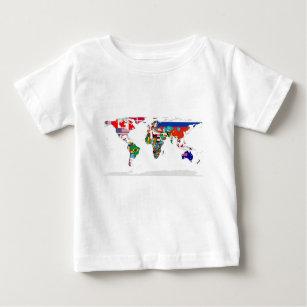 World map t shirts shirt designs zazzle flagged world map of flags of the world baby t shirt gumiabroncs Images