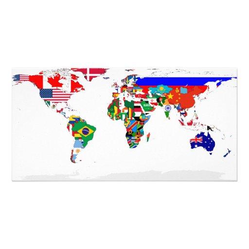 Flagged world photocard photo card