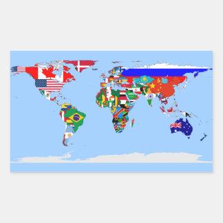 flagged world rectangular sticker