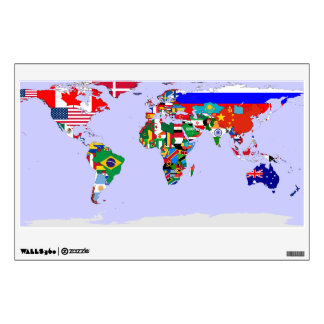 flagged world wall decal