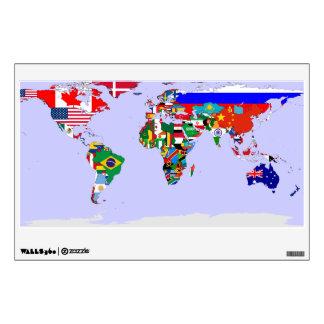 flagged world wall decal