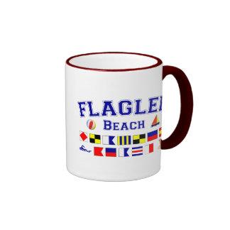 Flagler Beach, FL - Nautical Spelling Ringer Coffee Mug