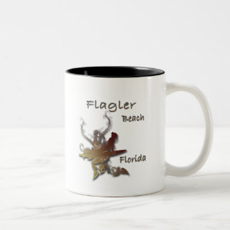 Flagler Beach Florida Surfer design Two-Tone Coffee Mug
