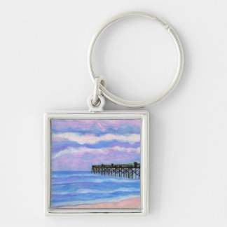Flagler Beach Pier Silver-Colored Square Keychain