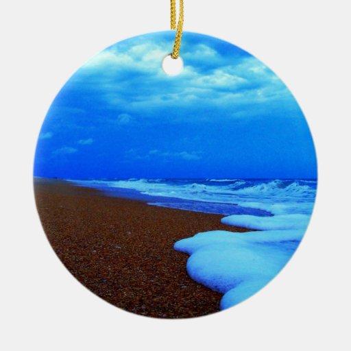 Flagler Beach Shoreline Double-Sided Ceramic Round Christmas Ornament
