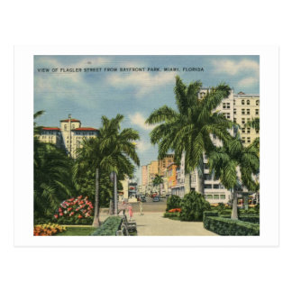 Flagler St., Miami, Florida Vintage Postcard