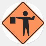 Flagman Ahead Highway Sign Round Sticker