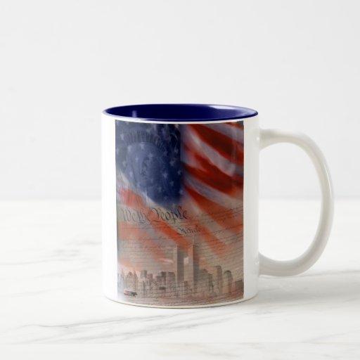 FlagPatriotic-Collage Tazas De Café