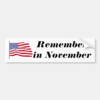 flags-american-waving-in-the_wind, Rememberin N... Car Bumper Sticker