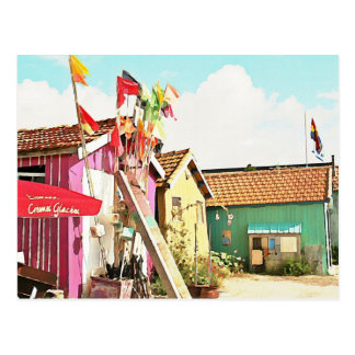 Flags and Boat Sheds Postcard