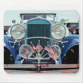 Flags and Chrome Classic Car Photograph Mouse Pad