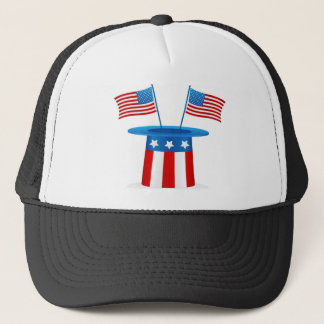 Flags  and Cute Dog Trucker Hat