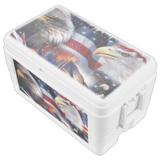 flags and Eagles Chest Cooler