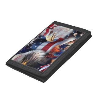 flags and Eagles Trifold Wallet