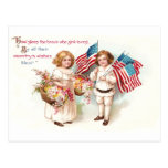 Flags and Flowers from Girl and Boy Post Card