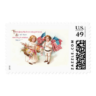 Flags and Flowers from Girl and Boy Postage