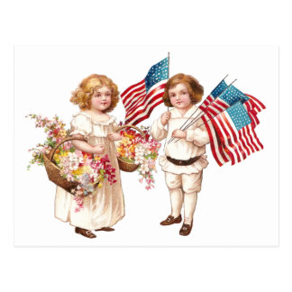 Flags and Flowers from Girl and Boy Postcards