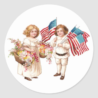 Flags and Flowers from Girl and Boy Round Stickers