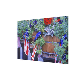 Flags and Flowers in Philipsburg Montana Canvas Print
