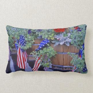Flags and Flowers in Philipsburg Montana Lumbar Pillow